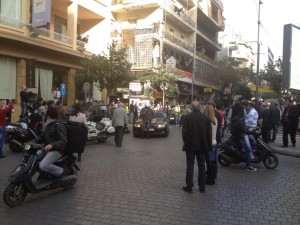 Lady blocking hamra street