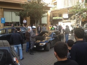 lady blocking hamra street 1